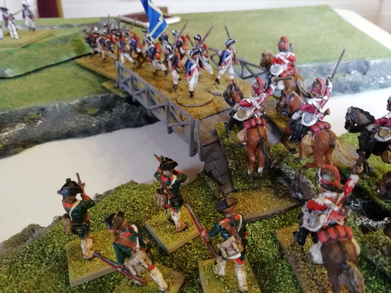 Rebels and Dragoons clash on the bridge