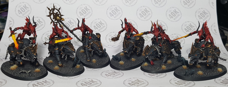 26/08/19 16:24: I've finished the hounds and did the Bloodcrusher bases at the same time.  I have also unified riders with their mounts, although they are only held on by pins so they can easily be removed for storage and transport.