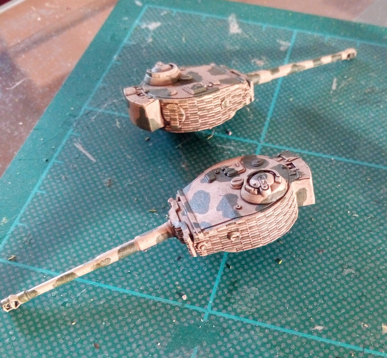 The Tiger turrets get some Castellan Green as their first stage of camo