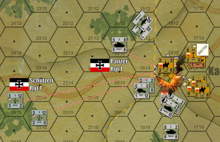 The German assault begins in earnest, with infantry guns, mortars, and 7.5cms on PzKpfw IVs.  But Yavasa is feeding in reinforcements into the battle, and close-assaulting German PzKpfw IIs originally used to spot the Polish defenders. Yes, German tanks are burning, and Polish cavalry are involved.  This DID happen (German armored recon if memory serves), and CAN be successful if done carefully under the right circumstances.
