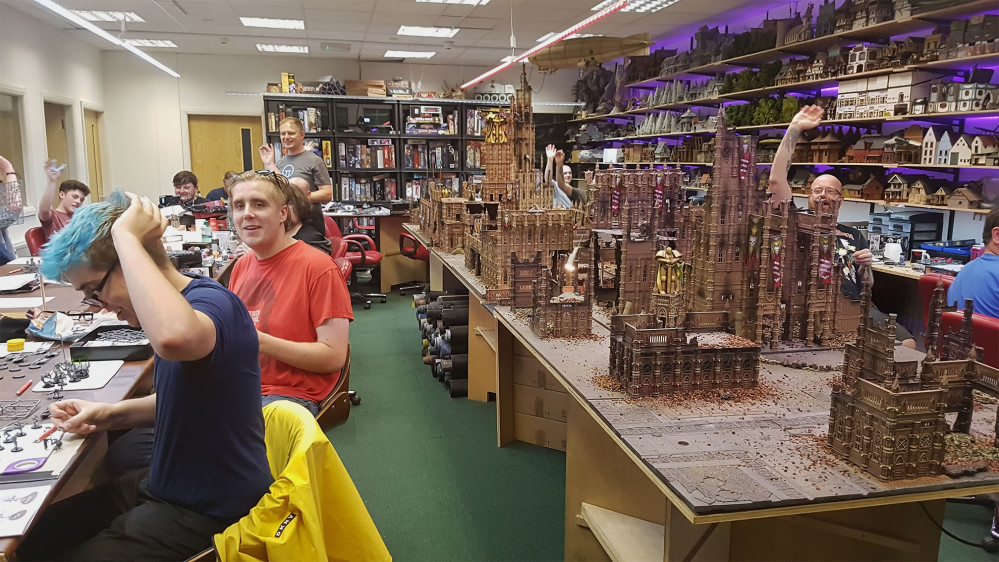 Army building underway in the Cult of Games gaming suite!
