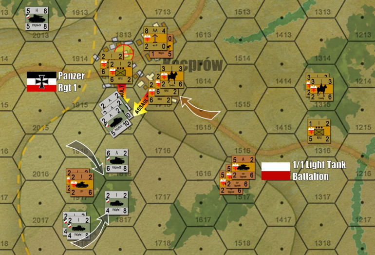 The Germans invest Polish tanks, and set up for their set-piece assault on the second Polish objective hex.