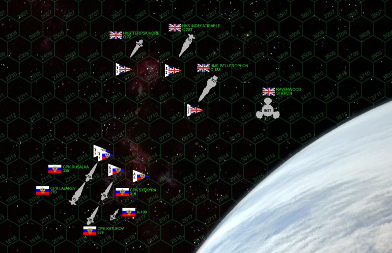 Matchup of the approaching forces. The British have the heavier guns, especially aboard HMS Bellerophon and the installation itself.  But the Russians are much faster and more numerous.  CPK Katukov is the troop ship, carrying six assault boats and 168 shock troops.  If she manages to dock with Ravenwood Station ...