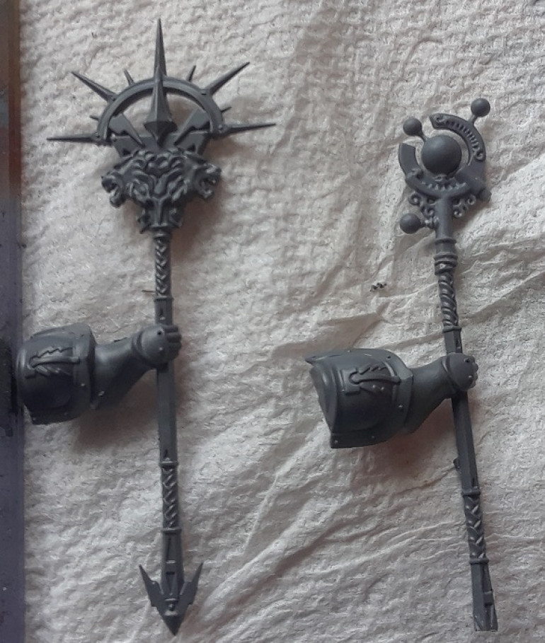 The staff from the model on the left and my conversion on the right