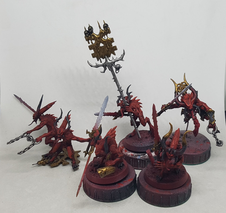 Thats the brass done for 29 red daemons.  If I can get the blades done this weekend, then I think I can call the Bloodletters all done bar the bases.