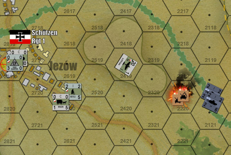 Here's one that got missed on the original roll out ... you can't have a Poland 1939 campaign without some Stukas.  Sadly for me (German player), Yavasa was using his light tanks pretty aggressively.  Note these two platoons of tanks rolling toward by captured objective hex in Jezów.  Hence, I was forced to use my limited Stukas to secure my flank and rear, rather than kicking in the front door toward more objective hexes further north.