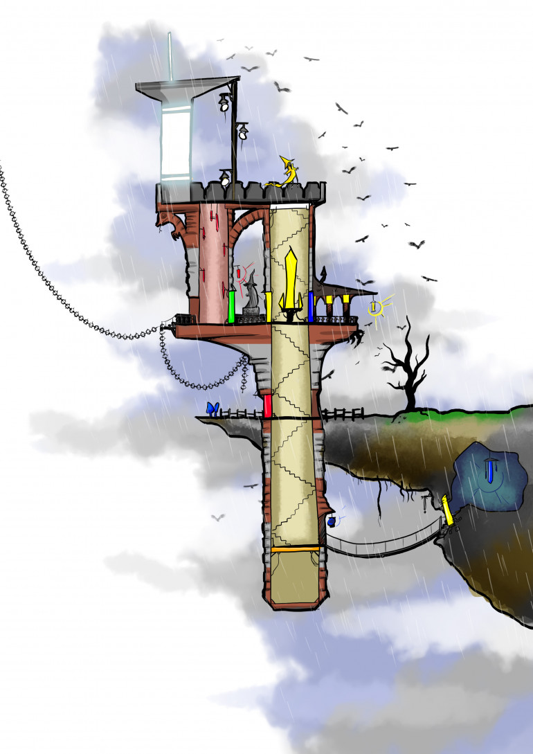 The wizards lighthouse is a fun little puzzle dungeon where you have to find and combine light crystals to open doors before the mad wizard winslow steals all the colour from the universe.