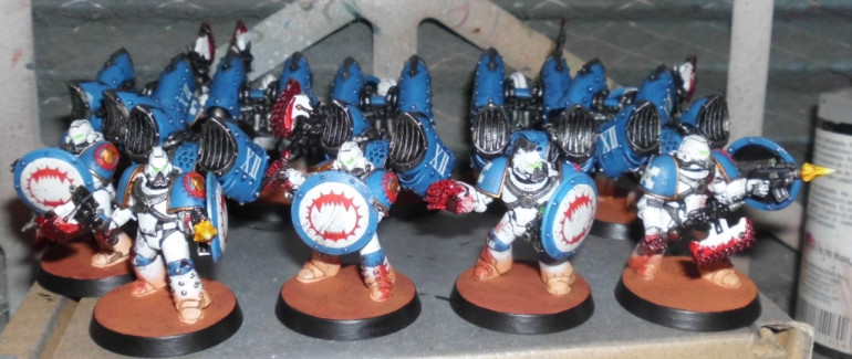 World Eaters Assault Squad with combat shields and chainaxes