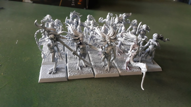 The base unit of 20 Daemonettes, some second hand EBay minis with conversions and a few adds from a sprue I had with some bits form Shieldwolf's Shieldmaidens sprues