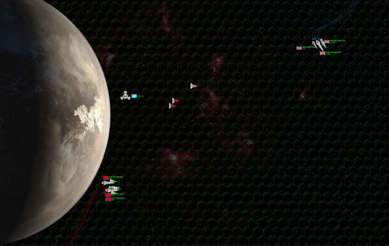 "Here we see the British (top) and Black Dragon (bottom) cruiser forces on their approach.  The moon is a big one, slightly smaller than the planet Mars.  Here the opposing task forces are almost 5400 kilometers apart, yet are already exchanging long range gunnery.  Ominously, the Black Dragons are also launching waves of bombers and scouts from the light fleet carrier Kazhinkova, vectoring toward the British ships along with a hair of P-500 ""Plamya"" torpedoes.  British scouts, hopelessly outnumbered, fly out to meet the threat, hoping to shoot down at least some of the torpedoes before they reach the British cruisers.  The Black Dragons, for their part, are using the moon to their advantage.  First, by hugging the moon and turning away from it, they're forcing the British to turn TOWARD the moon to engage them (never a good thing).  Second, those big Slava class cruisers are moving very fast ... the better to close the range and take away the British advantages in long-range accuracy.  But they're also ponderous, and the moon's gravity will help them slow down when it comes time to engage."