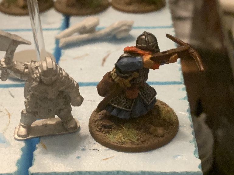 The figure on the left is one of the brand new female Dwarves from Bad Squiddo's recent Kickstarter. I'll use them for a Shieldmaiden unit.