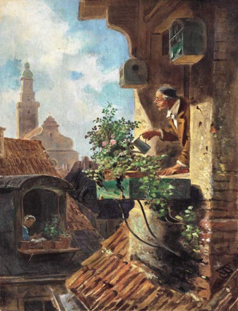 This is the original from Carl Spitzweg 'Im Dachstübchen' from 1849 for the first dio