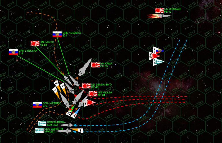"""The Kama lunges for the Russians, hoping to cross their T with a devastating broadside.  Myshaga sees the move and veers to port, then cutting hard to starboard.  His destroyers CPK (Svyatoy Russki Korabl, Holy Russian Ship) Syekyra and Rusalka execute the maneuver perfectly, cutting their starboard broadsides behind the huge heavy cruiser Kama.  Myshaga's flagship CPK Admiral Lazarev  moves to follow suit (with no forward shields, he knows his ship is about to be crippled, but resolves to take the larger IJN Kama with him), but has to veer further behind the Kama to avoid a collision with the oncoming strike frigate IJN Sakita.  The light cruiser IJN Sendai Byo cuts in behind the Russian destroyers, escorted by the veteran destroyer IJN Kikasa, only to have the destroyer Corinth and blockade runner Aurora cut in behind THEM ... only to have the Japanese bombers launch a torpedo spread behind THEM.  One way or another, this """"skirmish"""" is about to become a knife fight of gruesome proportions."""