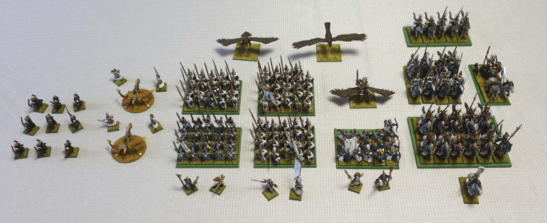 This is the complete High Elf army I collected and painted more than 14 years ago. Some of the changes described in the entries above, were already made when this photo was made.