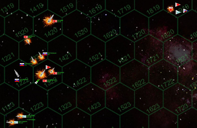 """Okay, to get a better view on what's actually happening here, I have blown up the hexes through which all these ships are all moving, and in what directions, at the crucial moment.  Please remember these hexes are 180 kilometers across, a turn is one minute of time, and one hex of movement is thus 3 kilometers per second.  The ships themselves are still massively oversized, usually 1 or 1.5 kilometers long at most. SO ... what happens here?  First, the Japanese spread of Ki-45 """"Toryu"""" (Dragon Slayer) torpedoes almost all are shot down.  But three hit the unshielded bow of the Lazarev.  And these are """"Class V"""" Ki-45s, some of the deadliest torpedoes in Known Space.  All three hit internal compartments (all the forward armor is already gone) ... but amazingly, the Lazarev's bridge remains unstruck ... and the ship retains power.  Casualties are heavy, however, and Myshaga is compelled to break off the action ... once he's released his own withering broadside into the stern of the Kama.  At this range ... Russian plasma projectors are just damned terrifying.  The stern of the 150,000 ton Kama is simply melted off.  Even as the Lazarev reels away, half her crew now killed, wounded, fighting fires, or trying to shore up bulkheads against chain-reaction decompressions, the forward guns of the Syekyra fire into the onrushing strike frigate Sakita (her aft guns firing into the Sendai Byo).  The Satika is crippled by the Syekyra's 40-kg plasma projectors, herself crippled an instant later when the Kama fires back with her huge aft batteries of 18-teravolt EPCs (electron particle cannons).  As the Syekyra is left spiraling out of control through space, the Rusalka's forward guns fire into the Kama, finally inflicting enough damage to cripple the massive Japanese ship.  Rusalka's aft guns fire into the Sendai, even as the Sendai and the escorting Kikasa fires its forward guns into the Rusalka and cripples her as well.  Russian P-500 """"Plamya"""" (Flame) Class III torpedoes strike """