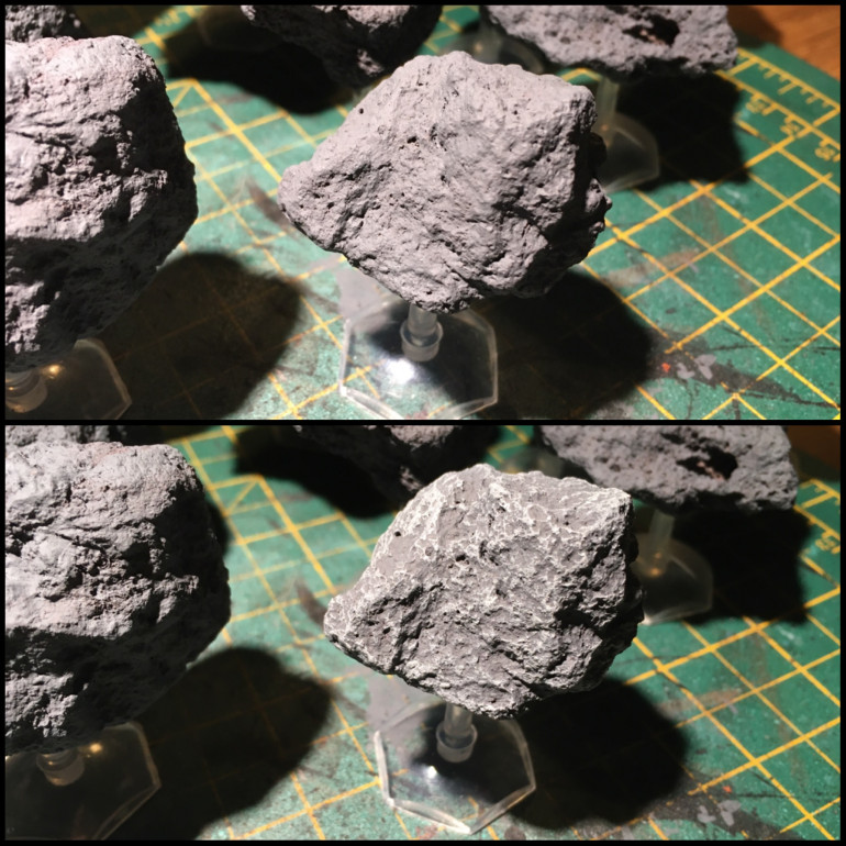 Light grey highlight across the surface and voila, asteroid scenery!