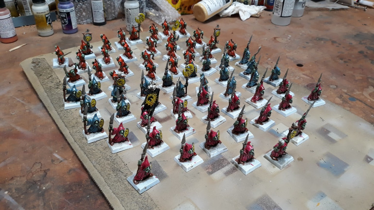 Watching varnish dry - once characters and extras are added I have 3 existing units of night goblins to add these to, so a reasonable stand-alone force.