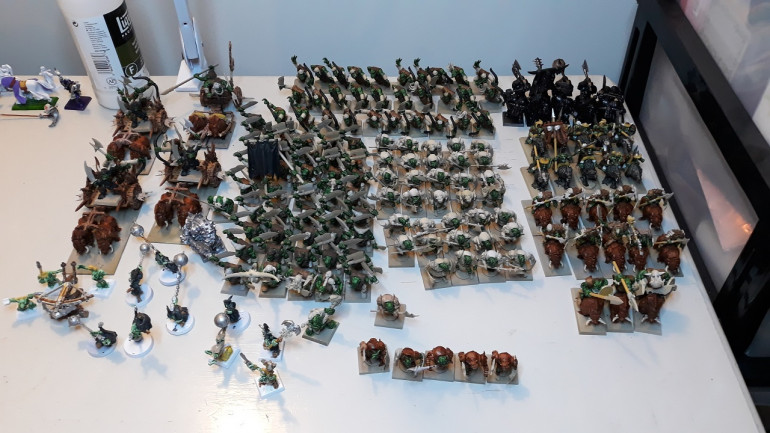 Current state of the horde, sans 3 units of Night Goblins