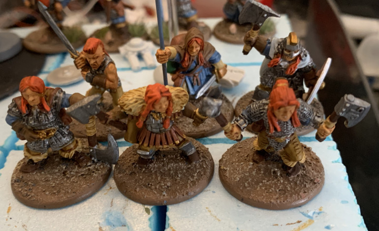I added a shield to the Valkyrie figure, second row far right. The shield was a spare from the Conqueror Miniatures two handed axemen unit.