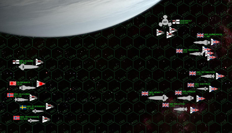 "The matchup.  For this assault, the British assign two cruiser task forces (Task Force ""Kraken"" and Task Force ""Agamemnon"") to escort the Royal Sovereign class battleship HMS Henry V under the flag of Rear Admiral Sir Lord Perceval Ian Pinderglove.  The target is the Eisenwolf Colony itself, a massive orbital facility bristling with 15-teravolt EPCs and 14-gigawatt rail guns, 35mm mass driver point-defense guns, sixteen Focke-Wulf 909 aerospace bombers thirty-two Messerschmidt SJ-363 fighters.  Prussian warships are also in the area, including light cruisers, and destroyers of the ""Shieldmaiden"" kruezergeschwader (cruiser squadron), actually made up of crews drawn from Norway and Sweden.  There's also a Japanese heavy cruiser, the famously-decorated IJN Naginata, originally posted here to Eisenwolf just to assure the Prussians that they aren't alone in this war quite yet.  But one thing British intelligence didn't pick up on was the latest status of the Tirpitz class battleship KMS Admiral Scheer.  Indeed, she's been brought back into service, and it looks like we're going to have a battleship showdown on our hands."