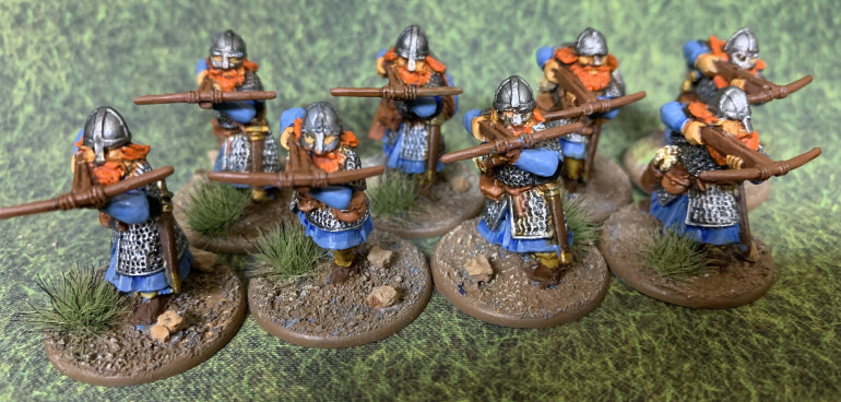 With this unit done, I'll do one a unit of bowmen and that'll give me all three options available to the army. In Saga, I probably wouldn't run more than one missile armed unit. In Lords of Erewhon the units are smaller so I might run two or maybe three missile units.