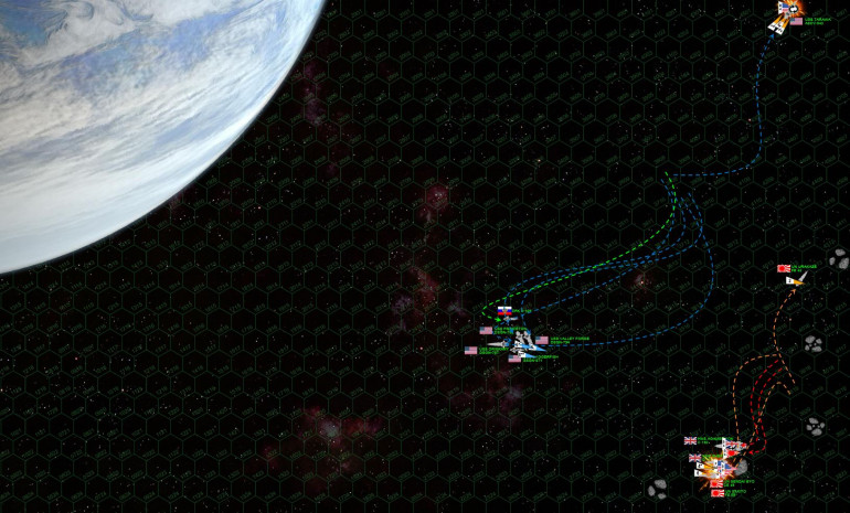 """Spencer realizes now that he's missed his first and best chance to win this battle.  With just three destroyers, there's no way he can win in a gunnery duel with a heavy cruiser, a light cruiser, a destroyer, and two frigates.  As Oriskany heaves out of harm's way, the Valley Forge and Princeton move to cover her.  Daggerfish and K-109 sling out more torpedoes, hoping that just maybe a second torpedo strike just might cripple the Amagemnon.  The Tarawa, however, has taken damage to her maneuvering thrusters in the opening Renkei fusillade … and cannot match the rest of the task force's turn … not at this speed.  She's thus forced to break off the action in a different direction, but isn't quite fast enough.  Japanese Ki-45 Toryu (Dragon Slayer) torpedoes hit her astern and devastate her engines and power reactors, crippling her instantly.  Her """"Tigershark"""" Marine fighters exact a small measure of payback, their chain guns and autolasers actually crippling the frigate Sakito.  The second wave of American and Russian torpedoes again slam into the Agamemnon, but again she survives."""