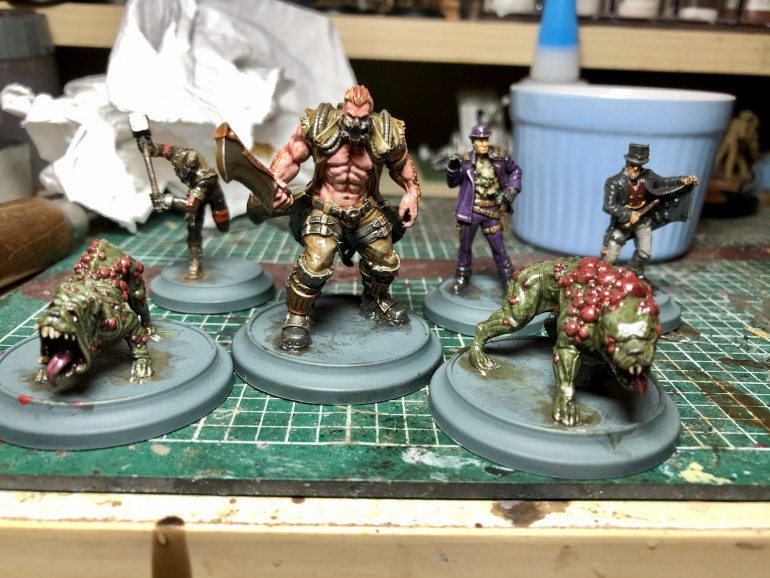 The final posse, after a soft tone dip, next up, matt coating and basing.