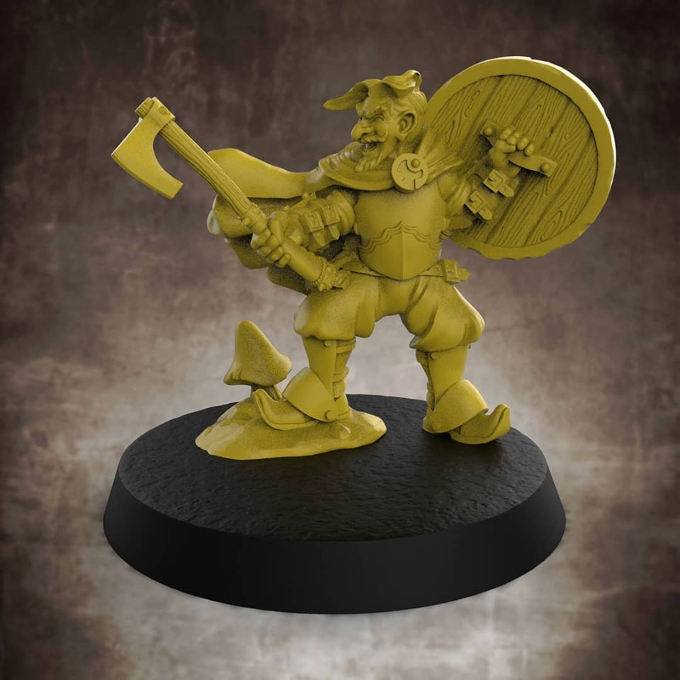 Gnome Fighter #1 - Lion Tower Miniatures
