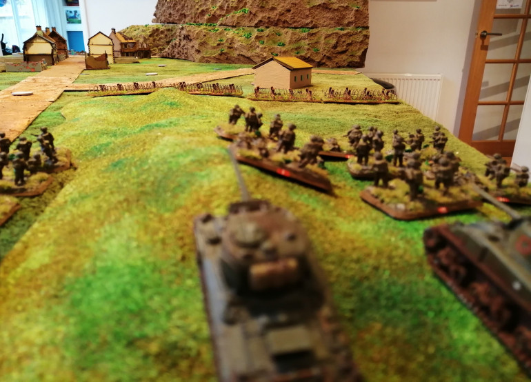 And the NZ right flank, where Orange platoon face an abandoned farm house beyond the barbed wire