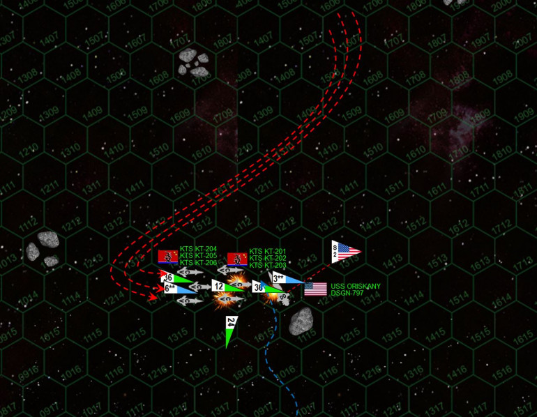 """The Oriskany rushes the corvettes, but the Black Dragons anticipate the move.  Although the Oriskany is able to use the asteroid in Hex 1115 to screen her stern, the corvette wolf pack rushes her port bow, clearly hoping to target her bridge and forward magazines.  No less than 36 P-500 """"Plamya"""" (Flame) warheads make their attack.  Seven are shot down by Oriskany's point-defense guns, one more by a scout.  But the Oriskany's gravitic shielding has been massively upgraded, as has her electronic warfare suites (in game terms she has an 8 shielding vs. torpedoes).  Only two P-500s actually hit the ship, knocking out part of Oriskany's sensor suite and maneuvering thrusters.  Plasma guns (10kg caliber) open fire as well, doing even more damage than the torpedoes at this close range.  The Oriskany has now lost her portside torpedo tubes.  The Black Dragons, meanwhile, shoot down all of Oriskany's torpedoes.  Looks like she'll have to do this the old fashioned way!  A port broadside of 6-MgKv lasers and 5-GW rail guns cripples the KT-202 and KT-203, while KT-201 has her fo'c'sle all but torn off, losing both port and starboard torpedo tunes, her plasma """"deck gun"""", and forward maneuvering thrusters."""