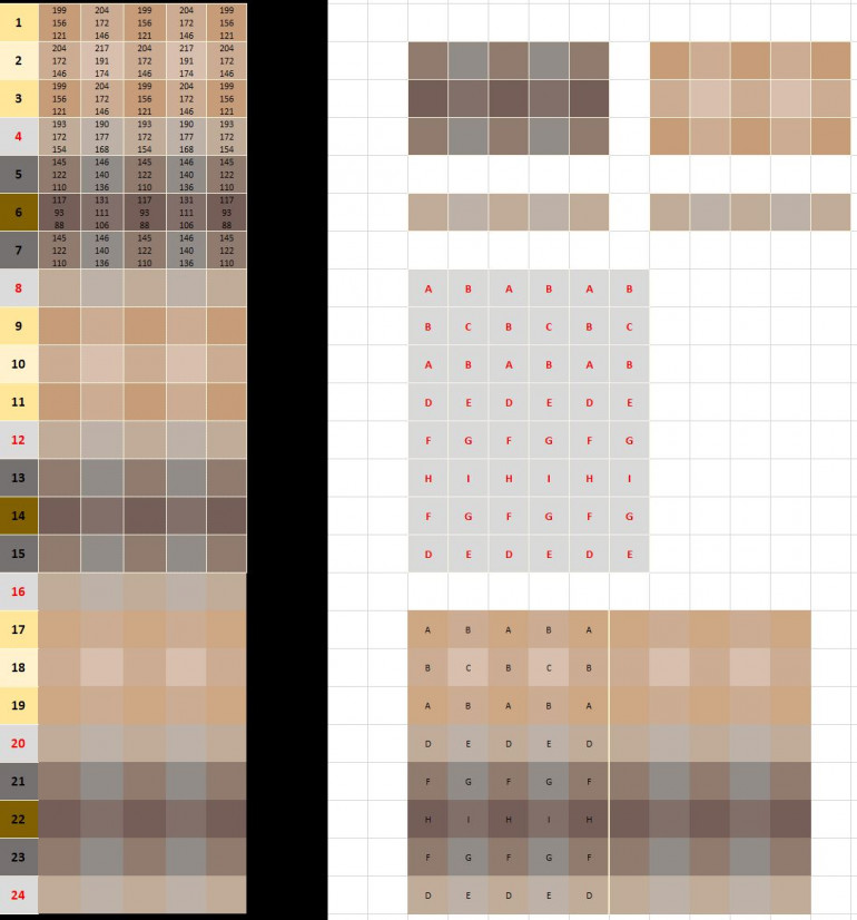Microsoft Excel gave me very quick access to a grid layout which i could manipulate and colour accordingly.