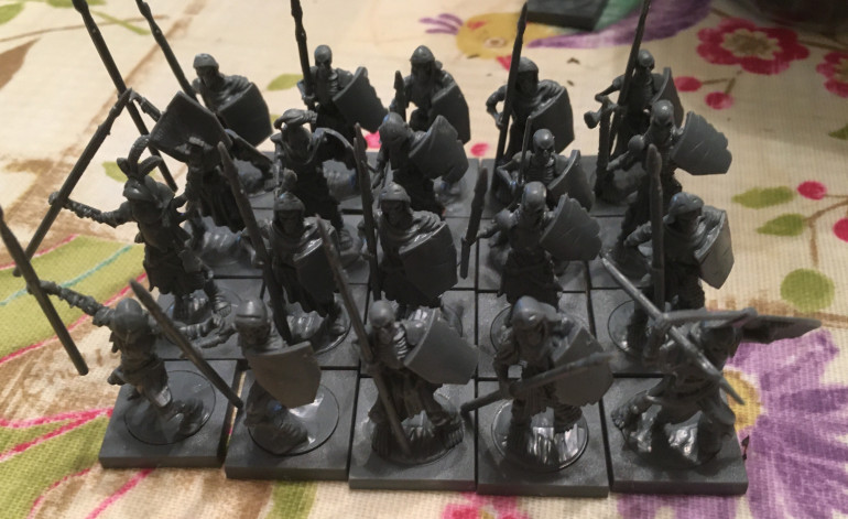A regiment of Skeleton Spearmen.  I have a horde of these guys already, so will now make up two regiments worth.  They can either be taken as a regiment, but also put together to make a horde.