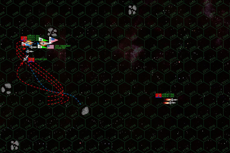 """With her maneuverability reduced, Oriskany slows to 15 kilometers per second and jackknifes to starboard, coming to 090 and using another asteroid field to screen her badly-damaged port bow.  The Black Dragons swarm in behind her, pelting her stern with (KT-201 was able to launch her twelve P-500s just moments before these mounts were destroyed by the Oriskany's broadside).  Six are shot down, the reduced performance clearly due to the Oriskany's damaged sensor suite.  However, the """"Lady O"""" has always been a lucky ship, and not one Black Dragon torpedo gets through the enhanced shielding and electronic warfare.  Only one plasma gun hits, and even this is a glancing burn off the port quarter.  This was seriously good luck for the Lady O, she very well could have been crippled here.  However, only her aft weapons can now hit, and all guns fire on K-204.  Hits are scored on the magazine, forward weapons, bridge ... just hat fast the corvette is crippled."""