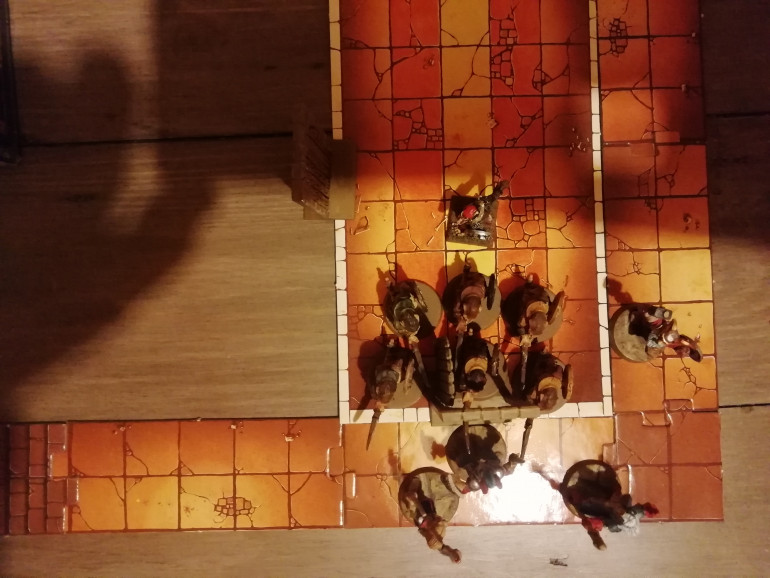 Around the corner a lair is discovered full of nasty ratmen and our heroes are so weak they decide to head for the exit while the warrior holds them all off. He has to keep the skaven away while the dwarf (missing a leg) struggles to keep up.