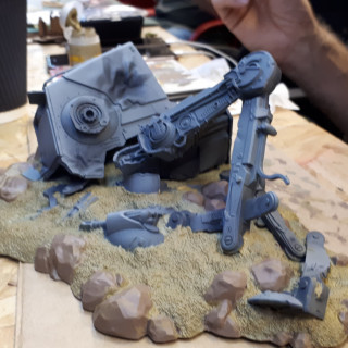 Airbrush Master Dan Continues Work On His Downed AT-ST