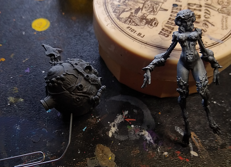 my two sub assemblies, zenithal primed with my airbrush