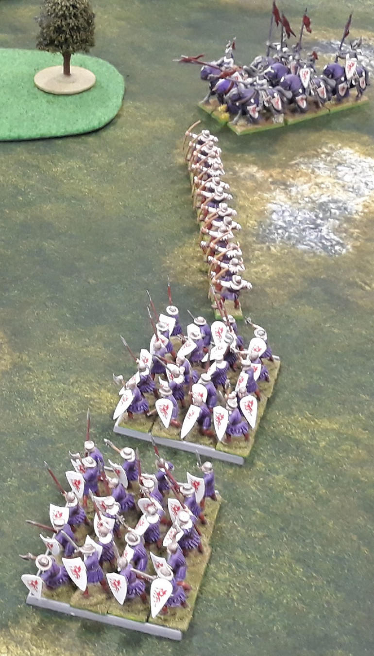 The Bretonnians - Very lucky with their archer's 'to wound' rolls all evening.