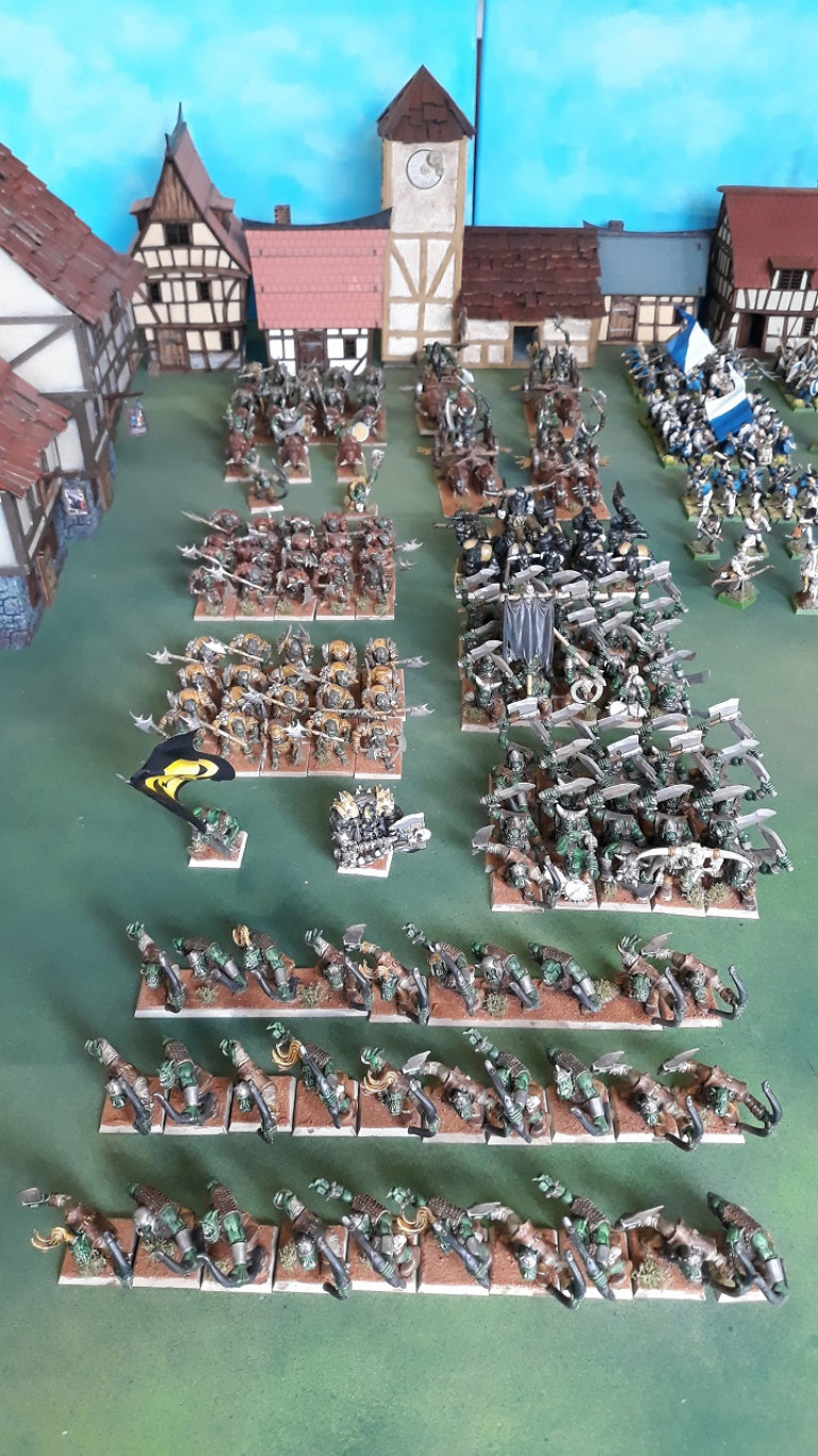 Orcs -a mix of mantic and GW. A block of boar riders, 4 chariots, 5 units of foot, 3 units of archers and a couple of characters.