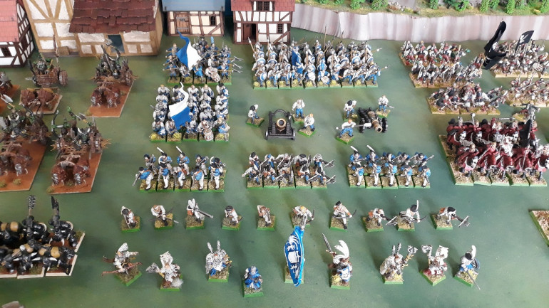 Empire Army of Middenheim - 3 blocks of foot, 3 blocks of missile weapons, a unit of skirmishing archers, a warmachine battery and an unreasonable number of characters...