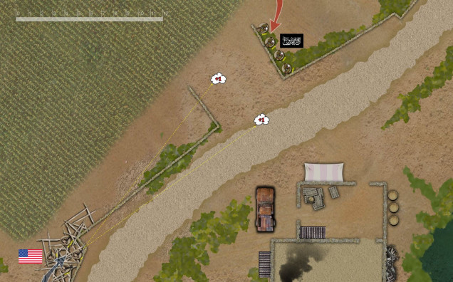Fireteam Alpha moves up along the left flank, using low mud walls and construction debris as cover.  To screen further advance they put down two smoke grenades from the M203.  These smoke screens will actually expand on the next turn.
