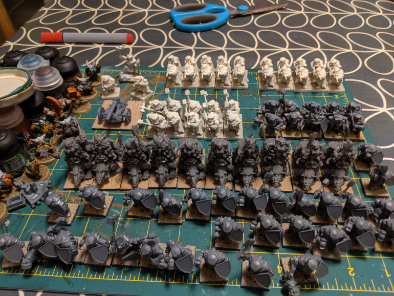 Most of the starter army plus a unit of badger riders built