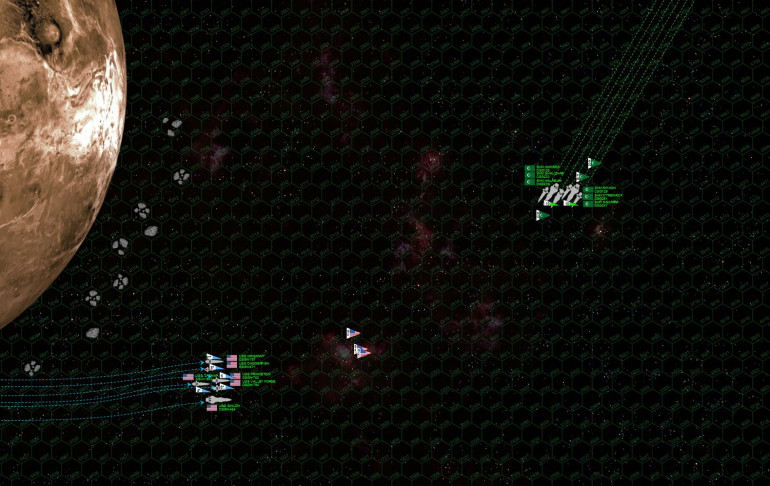 """Both sides enter at over 35 kps, decelerating to attack speed as sharply as these immense heavy cruisers will allow.  The Arab League is able to launch all their fighters and bombers (carried aboard larger-than-average """"hybrid"""" cruisers) while the USMC strike carrier USS Tarawa gets all her bombers launched, fighters standing by right behind.  In all, there are almost 80 League fighters, bombers, scouts.  Both sides open fire at just under 4000 km range.  The USS Oriskany takes """"ranging fire"""" hits from heavy cruiser Ankara and the destroyers Cyrenaica and Samarra.  American fire all misses.  Torpedoes away!"""
