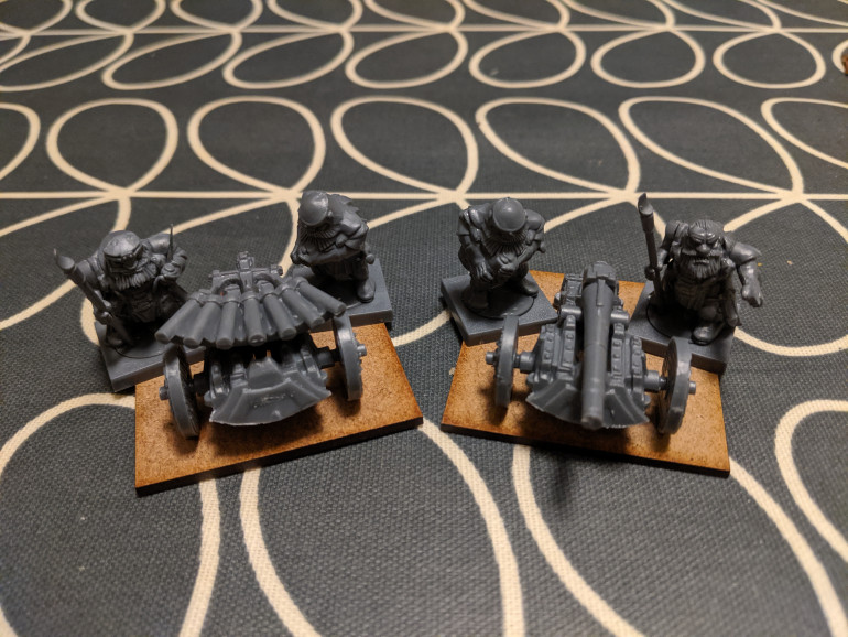 Two artillery pieces. I've gone for the cannon and the organ gun for some variety I've no idea which is best in game.