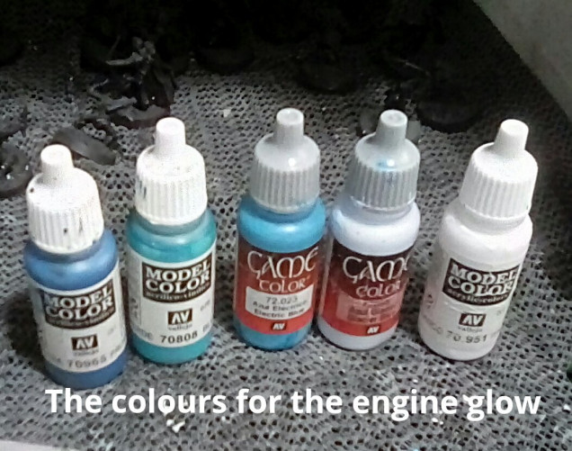 The paints I used for the engine glow