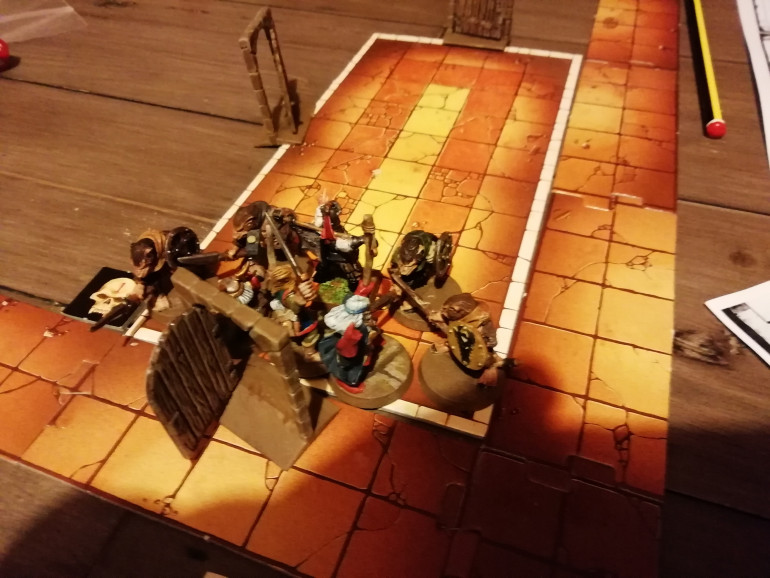 Returning to where they started the group find the Skaven they left behind still waiting for them. Klaus is shot in the back by the elf after a fumble but the adventurers clear the room and find enough treasure to pay their debts.