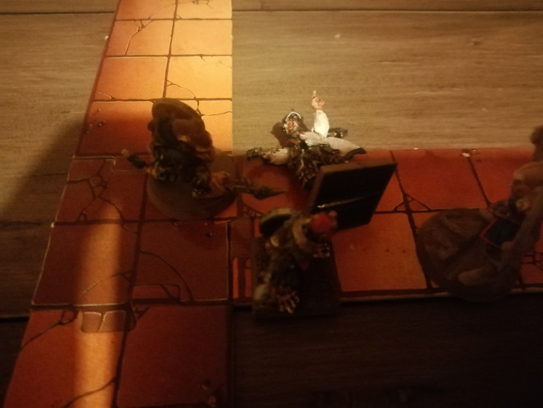 Klaus is later ambushed by two of the luckiest Skaven who manage to knock him out. His comrades give up a potion to save him and run from the dungeon to spend some gold heal up and return.