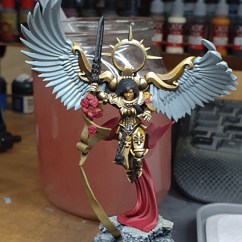 Base coloured the rest of the model. I wish I went for a white sword tabard oh well.