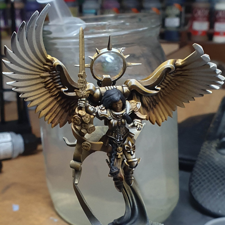 About done on the armour. again just moving down with the same 2 paints and t inks.