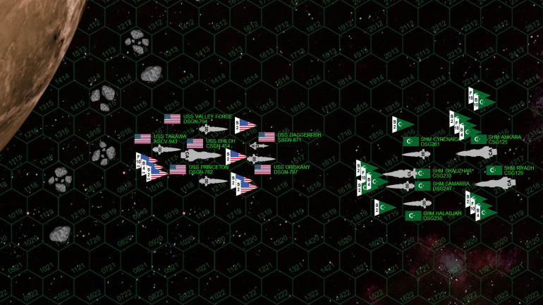 Today's matchup.  Yeah, this is gonna be a brutal one, with 12 ships, well over 100 aerospace craft, over 1 million tons in shipping, and 1016 game points on the table.  This game would take experienced Darkstar players AT LEAST 6+ hours to complete, and represents the upper limit of what can usually be accomplished with Darkstar.
