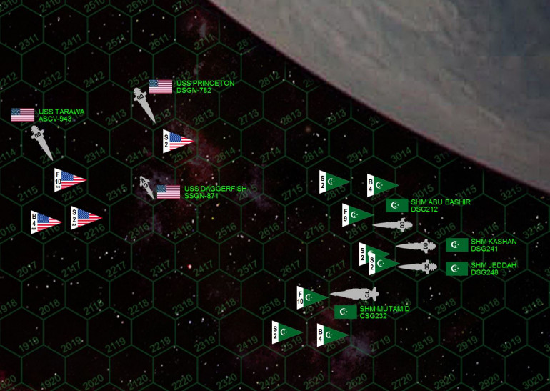 """Here is the matchup.  This is a small one, and the second Darkstar game played that day.  American forces include the destroyer USS Princeton (sister ship to Oriskany but with fewer upgrades), light carrier USS Tarawa (a converted USMC planetary assault ship), and the hunter-killer torpedo corvette USS Daggerfish.  These ships all generate 12-mag Darkstar waves (have earned and purchased the required upgrades) which explains how they crossed the Hercules Rim to hit such a remote target so quickly.  The Tarawa carries the fighters and bombers of USMC aerospace strike squadron VMF/A-319 (the """"Tigersharks""""), double-elite badasses who are nevertheless badly outnumbered by the aerospace strike wings of both the SHM Matamid (Almanzor class light hybrid cruiser) and SHM Abu Bashir (Khalifa class light carrier).  Escorting the League carrier and hybrid cruiser are the sisterships SHM Jeddah and Kashan (Basra class destroyers).  In all, the Americans are heavily outnumbered.  In terms of gunnery we're looking at a light cruiser and two destroyers against just a destroyer … in terms of aerospace we're looking at a 2:1 superiority.  But these American ships are elite, and the USS Daggerfish carries insanely dangerous torpedoes guided by a +2 CiC/targeting bonus and +2 (double upgraded) electronic warfare.  In total this gives her forward spread (8 tubes) +4 to hit, and League mass drivers a -2 to shoot them down.  Ouch."""
